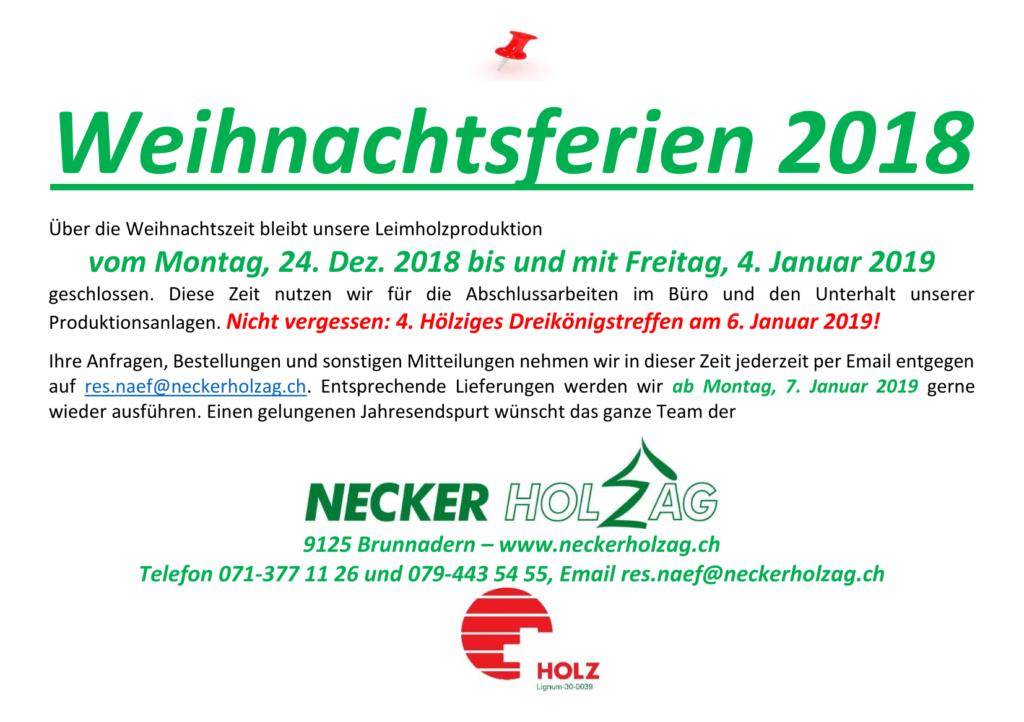 Weihnachtsferien 2018